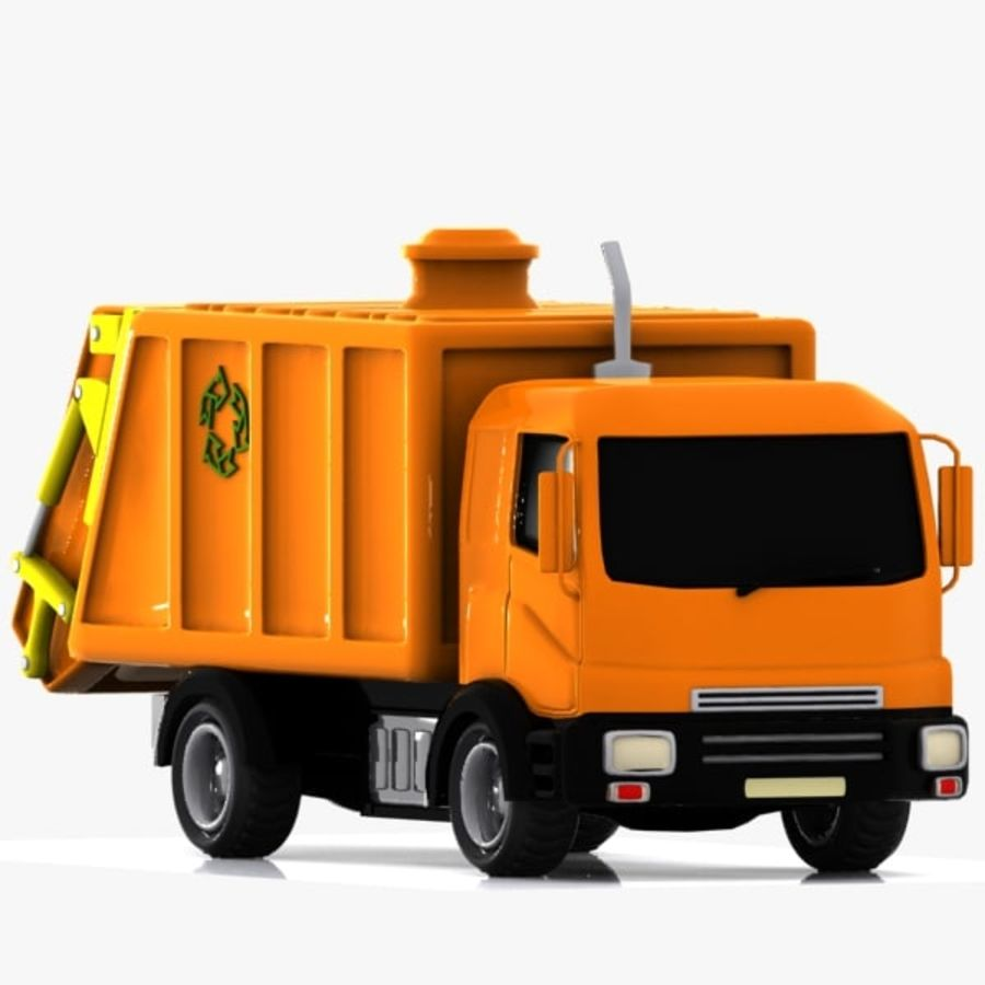 Cartoon Garbage Truck royalty-free 3d model - Preview no. 8