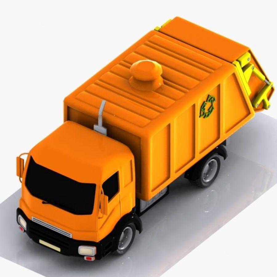 Cartoon Garbage Truck royalty-free 3d model - Preview no. 6
