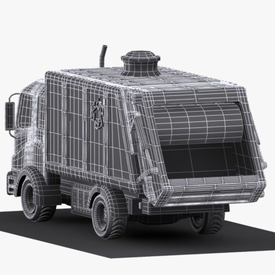 Cartoon Garbage Truck royalty-free 3d model - Preview no. 12