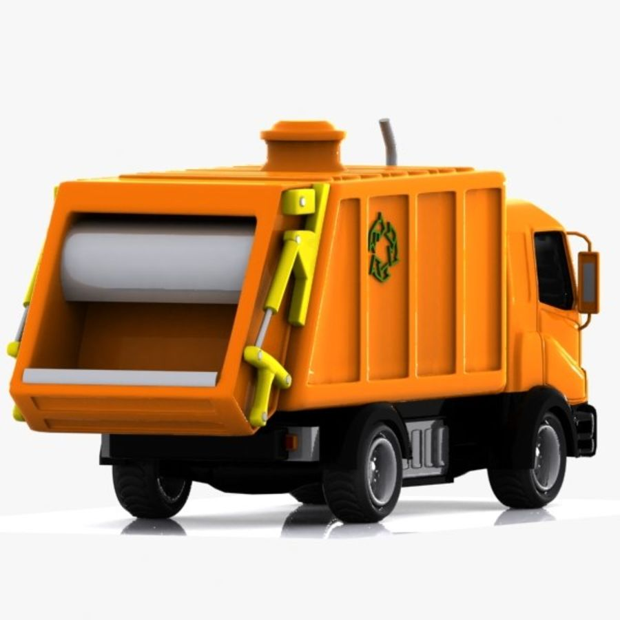 Cartoon Garbage Truck royalty-free 3d model - Preview no. 3