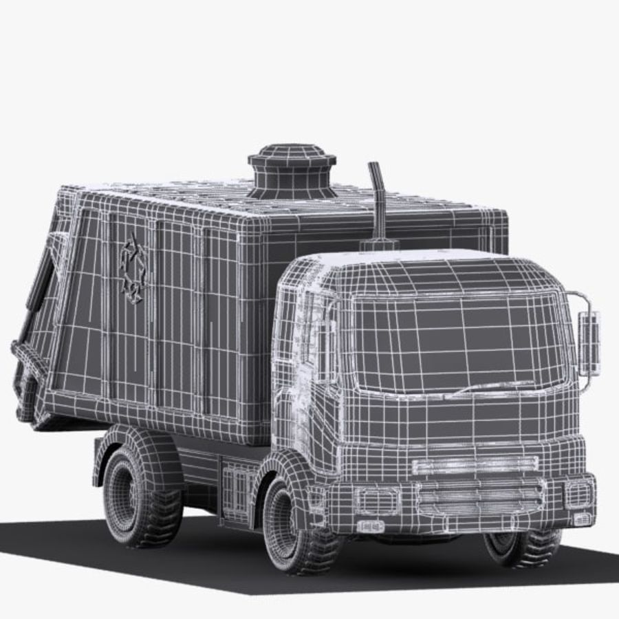 Cartoon Garbage Truck royalty-free 3d model - Preview no. 10