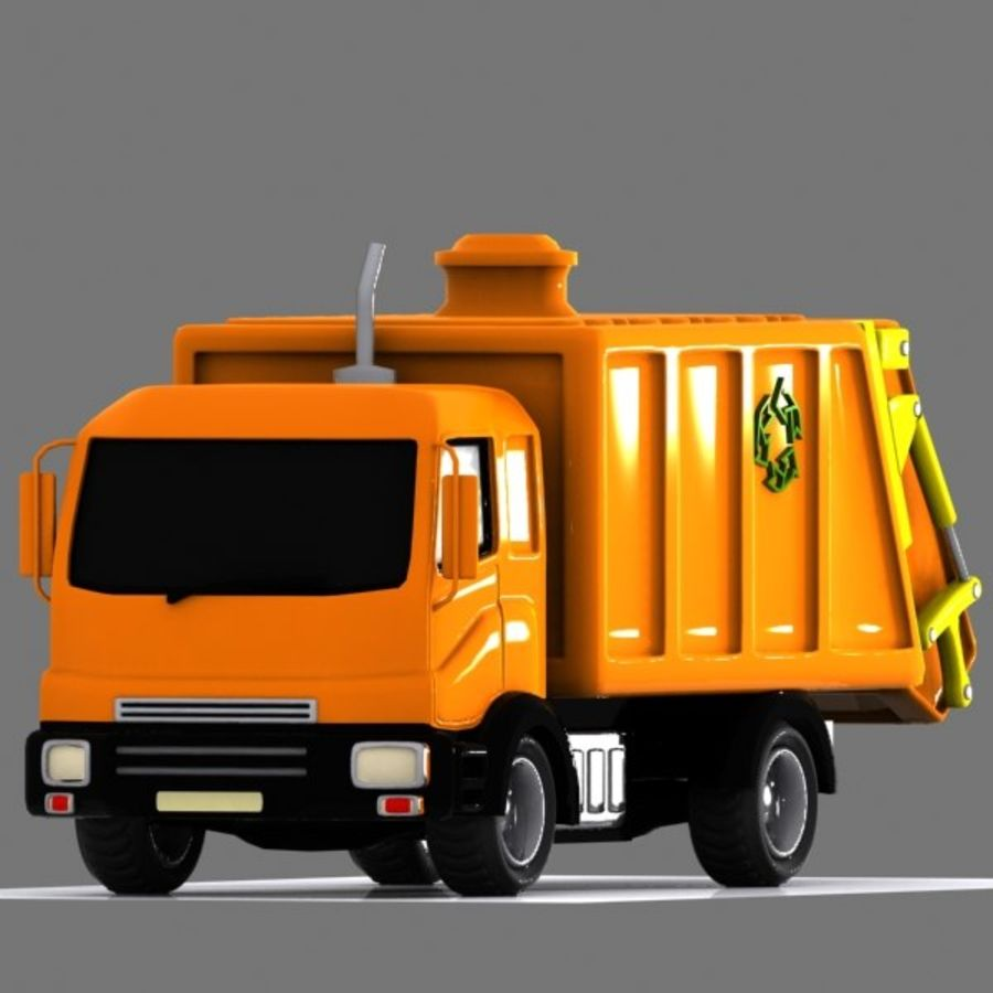 Cartoon Garbage Truck royalty-free 3d model - Preview no. 2