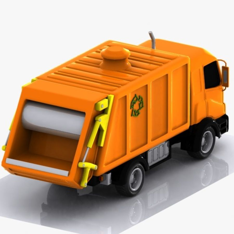Cartoon Garbage Truck royalty-free 3d model - Preview no. 4