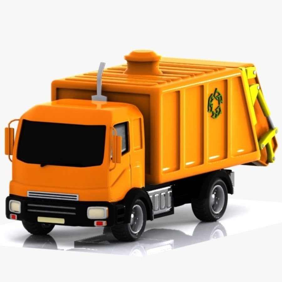 Cartoon Garbage Truck royalty-free 3d model - Preview no. 7