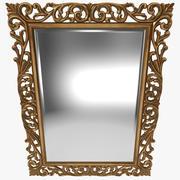 Gold Ornate Square Mirror 3d model