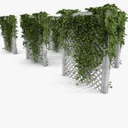 Zielony bluszcz na biały ogród drewniany płot 3d model