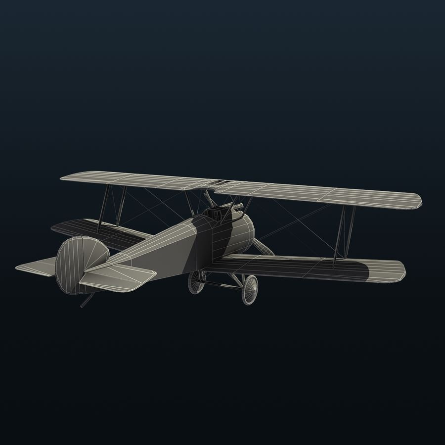 Sopwith F.1 Chameau royalty-free 3d model - Preview no. 10