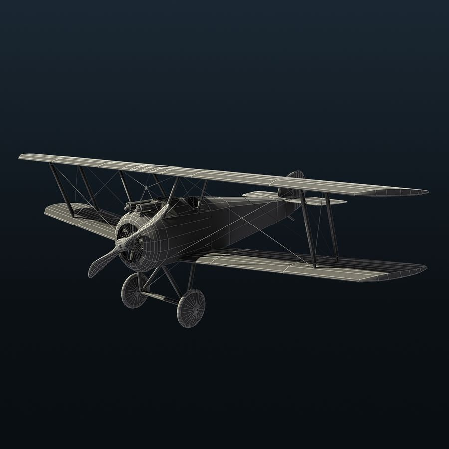 Sopwith F.1 Chameau royalty-free 3d model - Preview no. 8