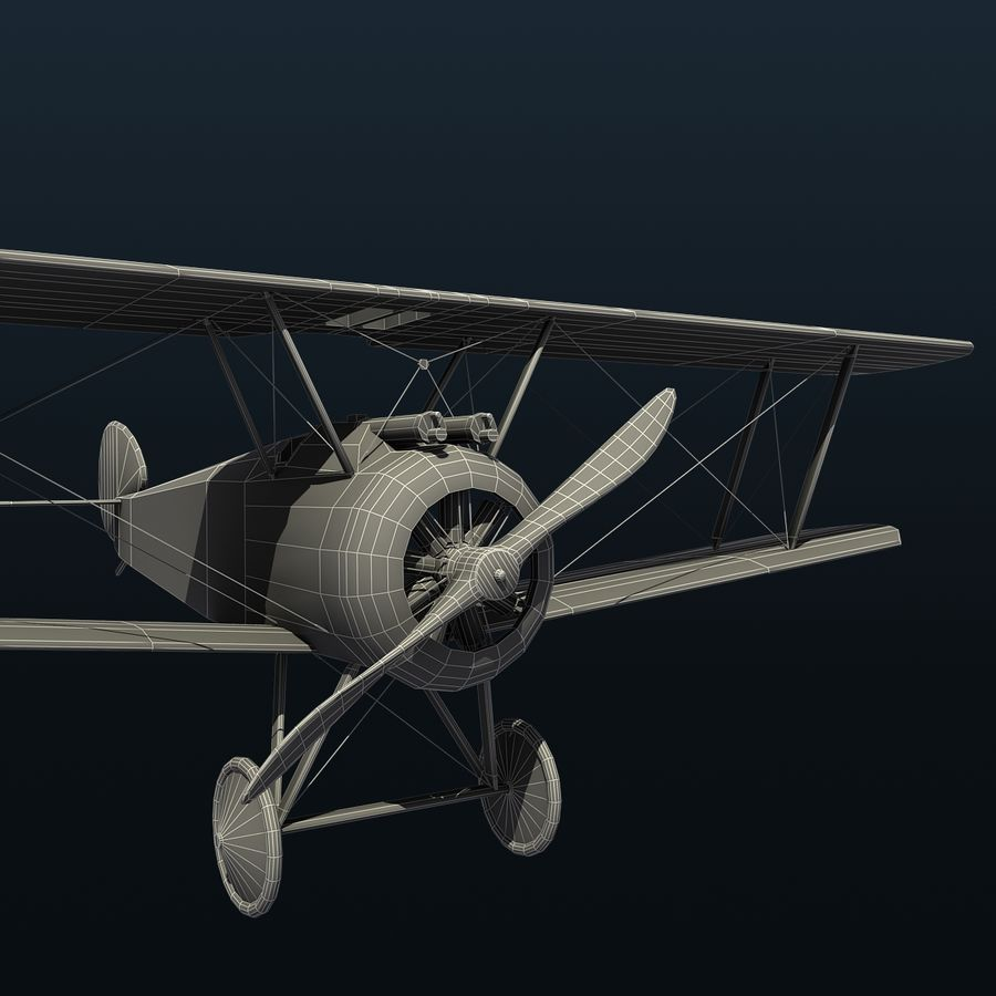 Sopwith F.1 Chameau royalty-free 3d model - Preview no. 9