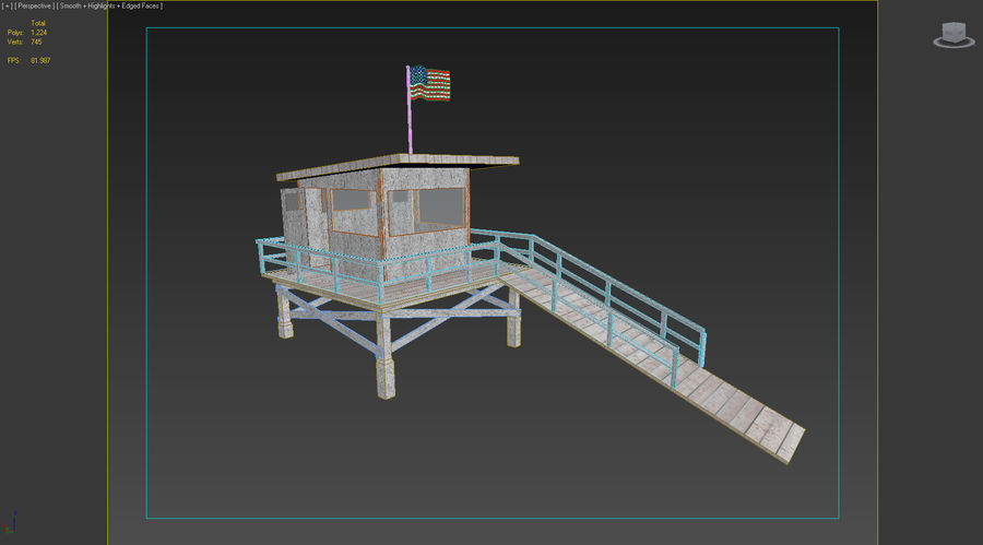 Estación de salvavidas de playa royalty-free modelo 3d - Preview no. 4