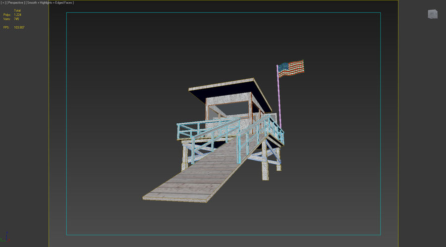 Estación de salvavidas de playa royalty-free modelo 3d - Preview no. 5