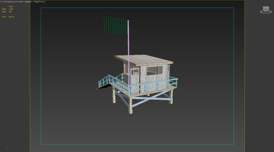 Estación de salvavidas de playa royalty-free modelo 3d - Preview no. 6