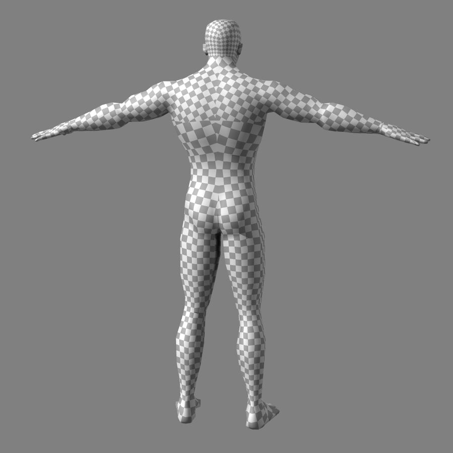 Low-poly Male (real-time base mesh) royalty-free 3d model - Preview no. 9