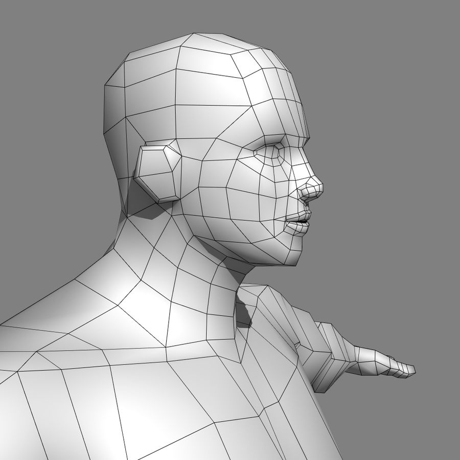 Low-poly Male (real-time base mesh) royalty-free 3d model - Preview no. 7