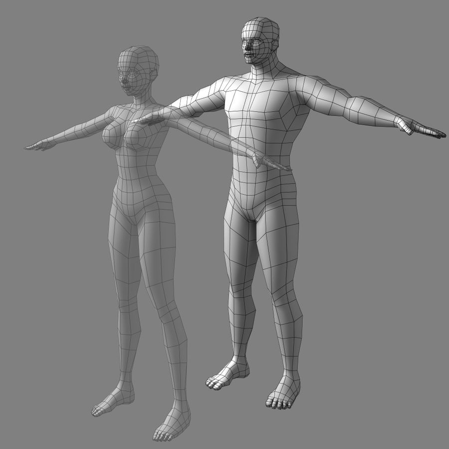 Low-poly Male (real-time base mesh) royalty-free 3d model - Preview no. 1