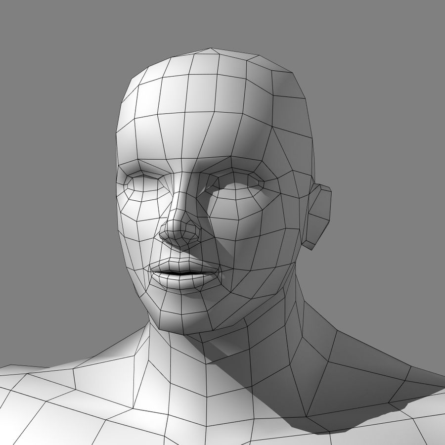 Low-poly Male (real-time base mesh) royalty-free 3d model - Preview no. 6