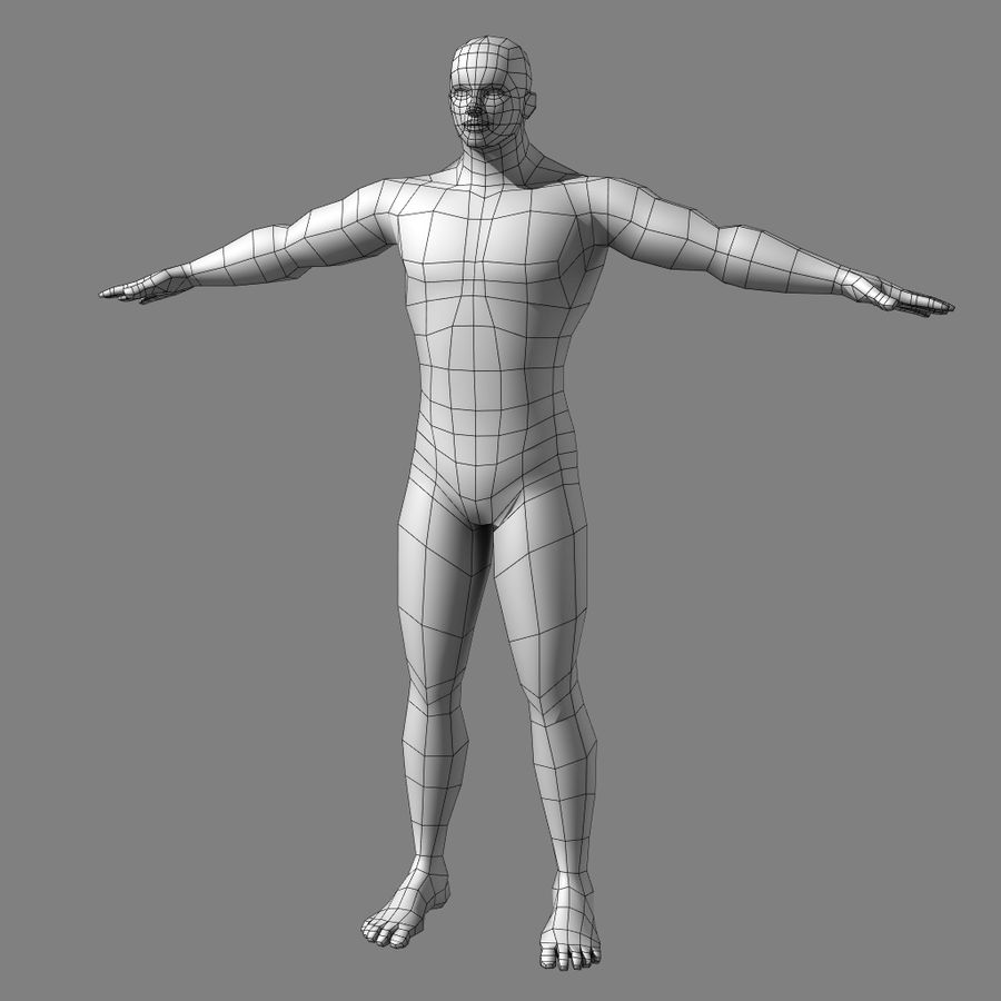 Low-poly Male (real-time base mesh) royalty-free 3d model - Preview no. 2