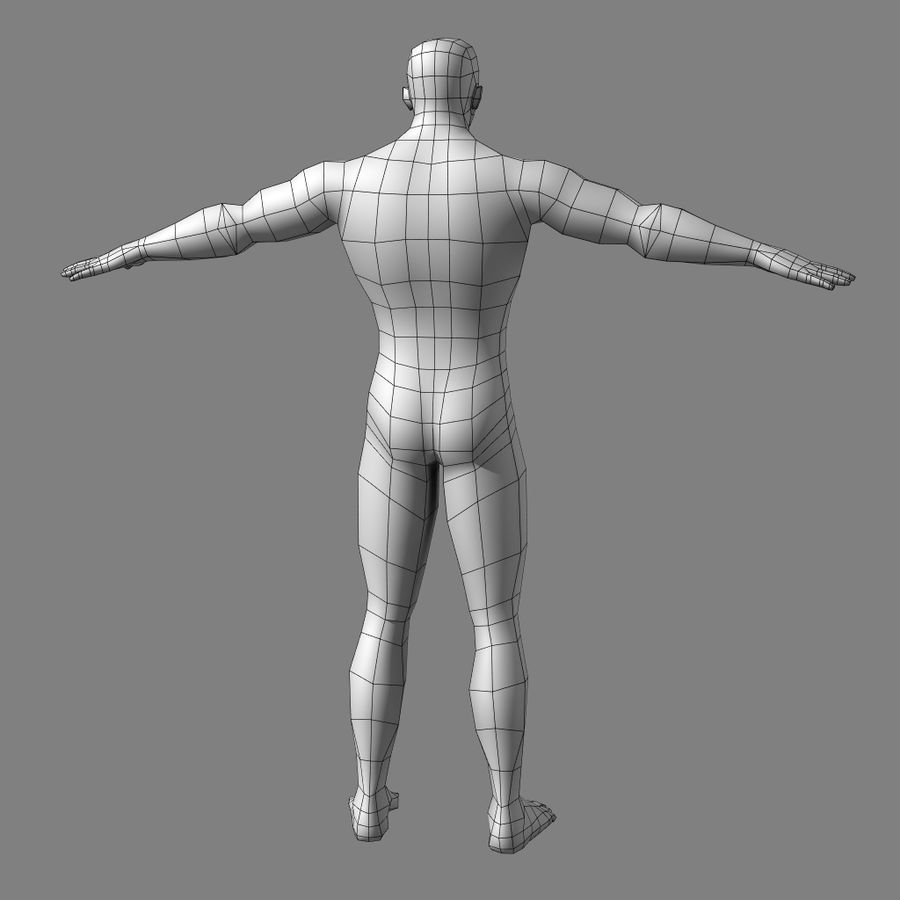 Low-poly Male (real-time base mesh) royalty-free 3d model - Preview no. 3