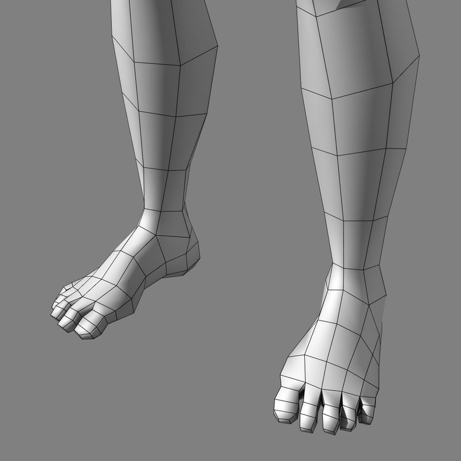 Low-poly Male (real-time base mesh) royalty-free 3d model - Preview no. 5