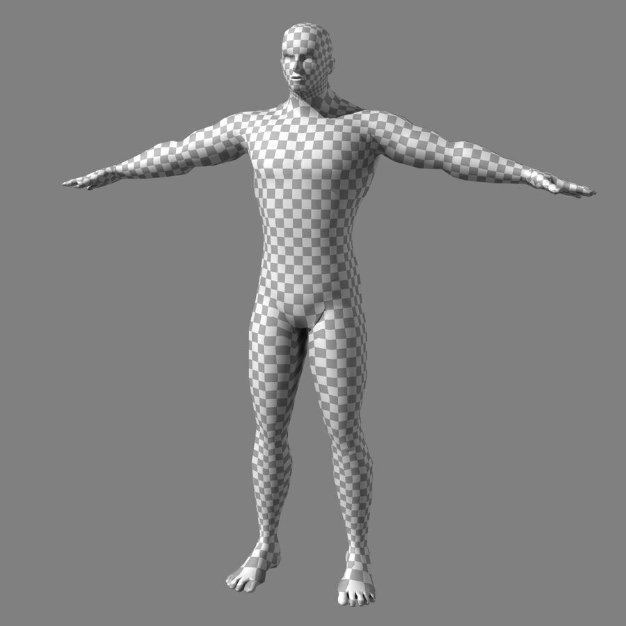 Low-poly Male (real-time base mesh) royalty-free 3d model - Preview no. 8