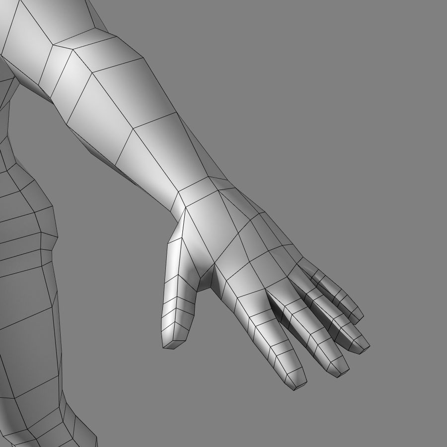 Low-poly Male (real-time base mesh) royalty-free 3d model - Preview no. 4