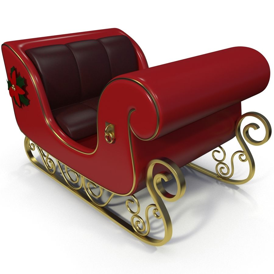 Christmas Sleigh royalty-free 3d model - Preview no. 8