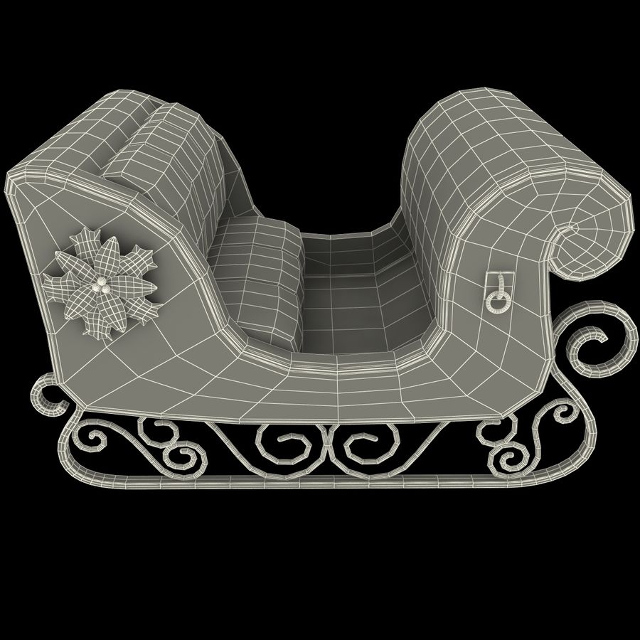 Christmas Sleigh royalty-free 3d model - Preview no. 18