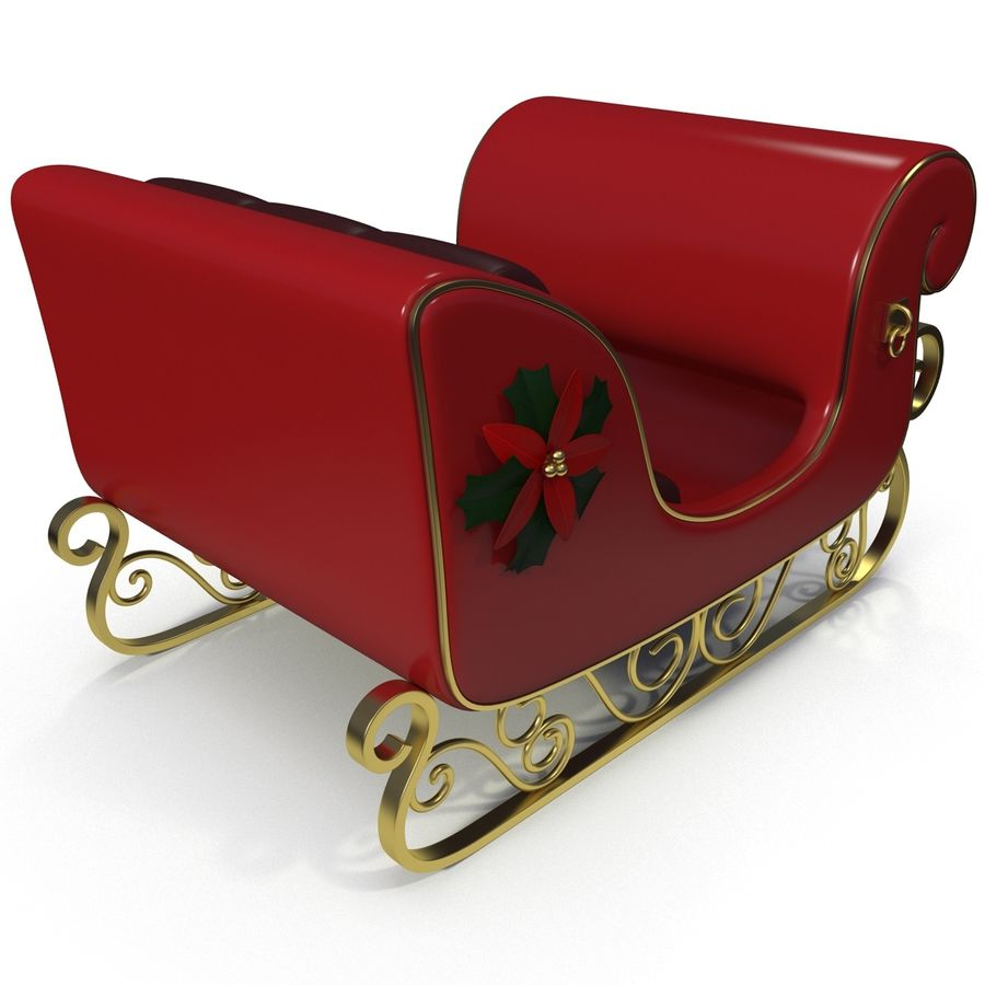 Christmas Sleigh royalty-free 3d model - Preview no. 6