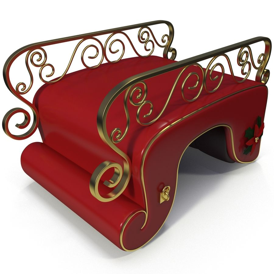 Christmas Sleigh royalty-free 3d model - Preview no. 14