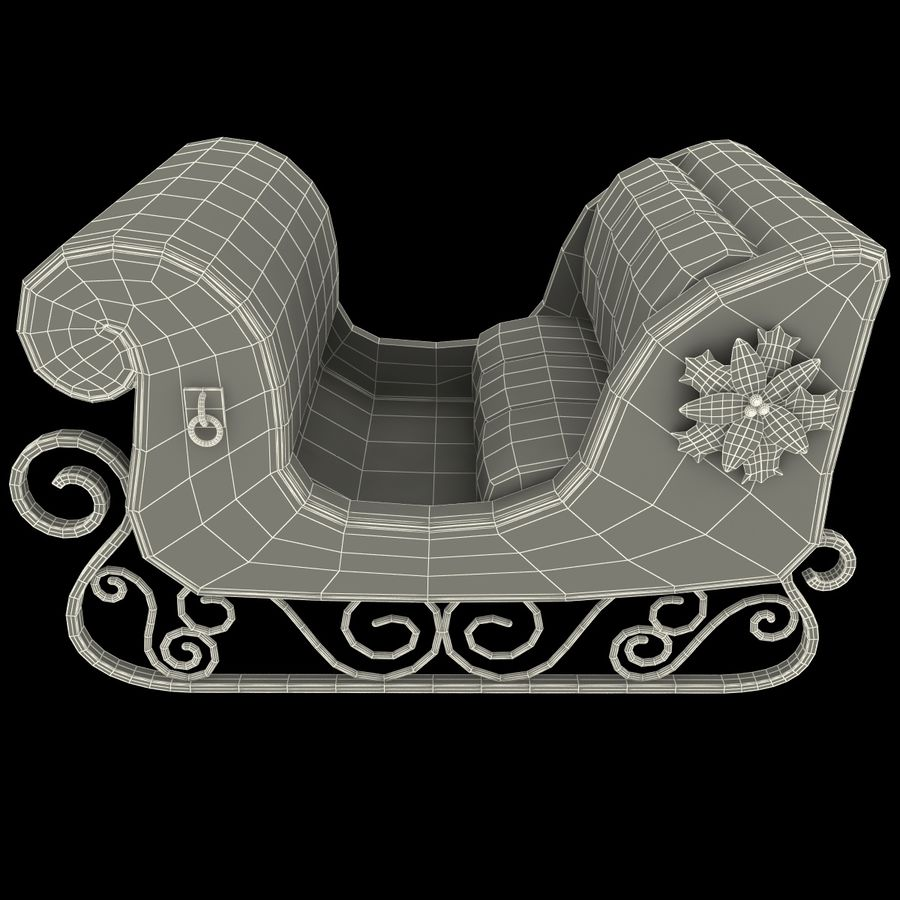 Christmas Sleigh royalty-free 3d model - Preview no. 15