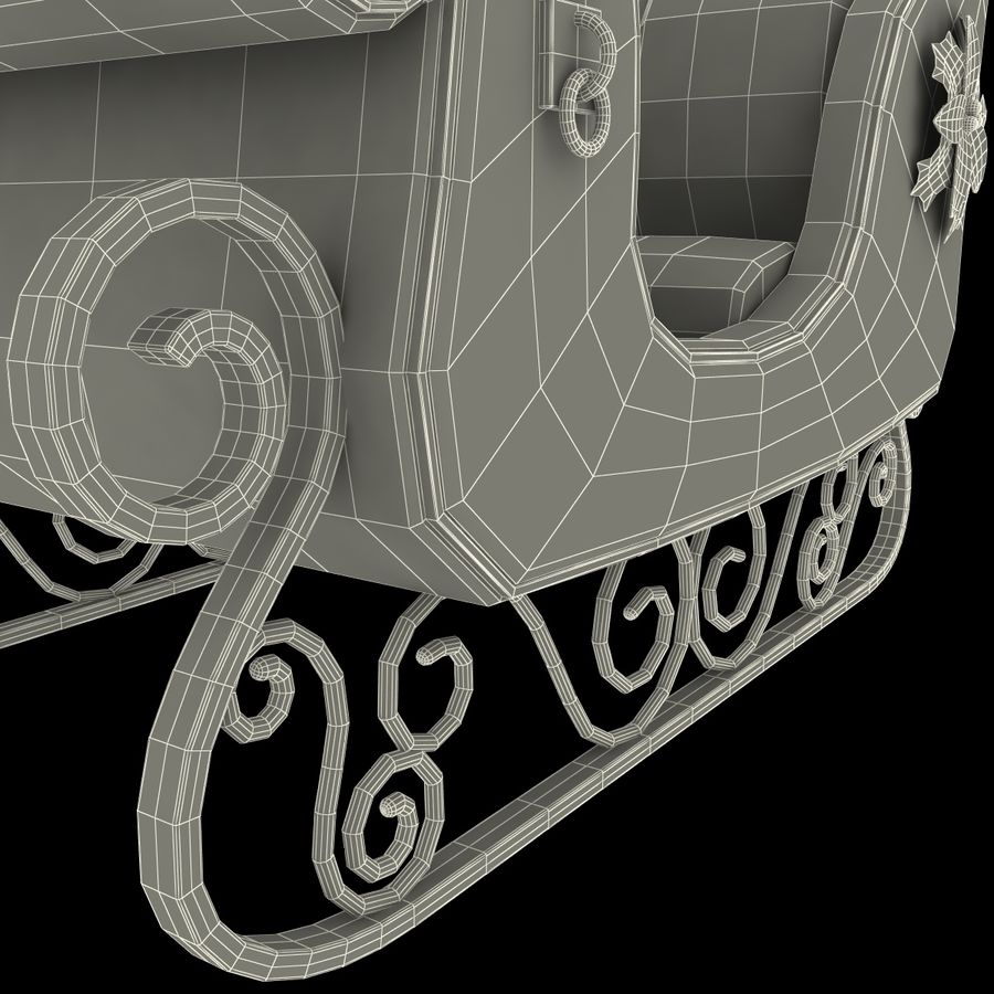 Christmas Sleigh royalty-free 3d model - Preview no. 20