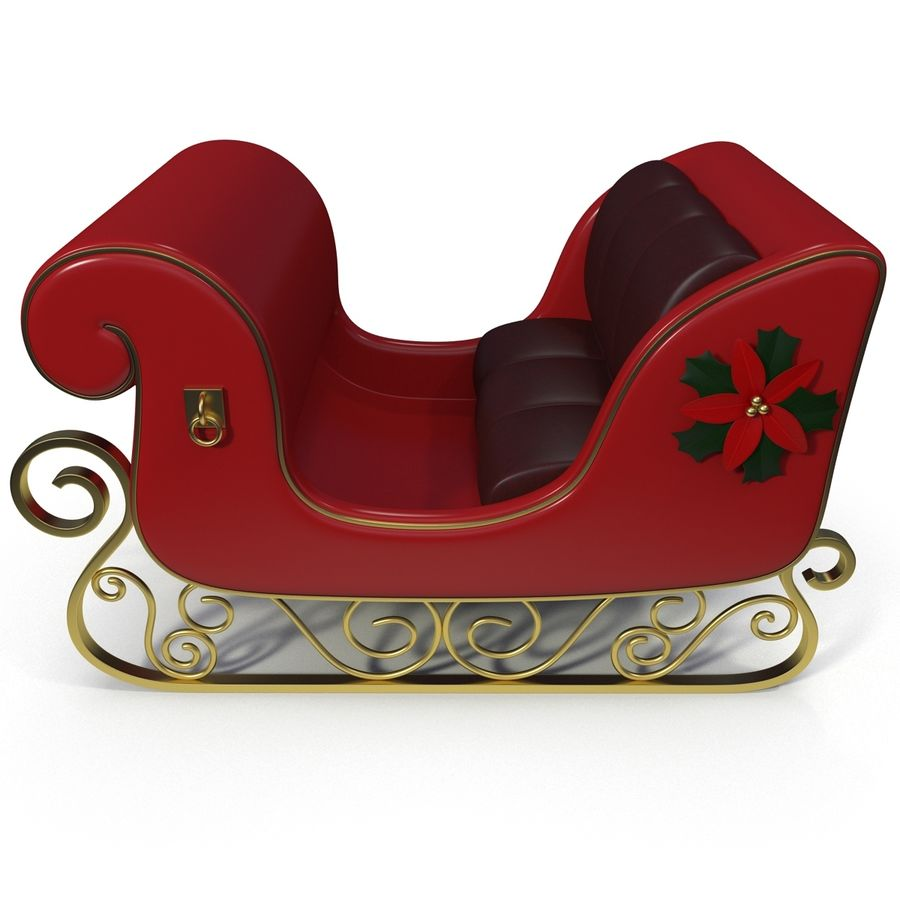 Christmas Sleigh royalty-free 3d model - Preview no. 3