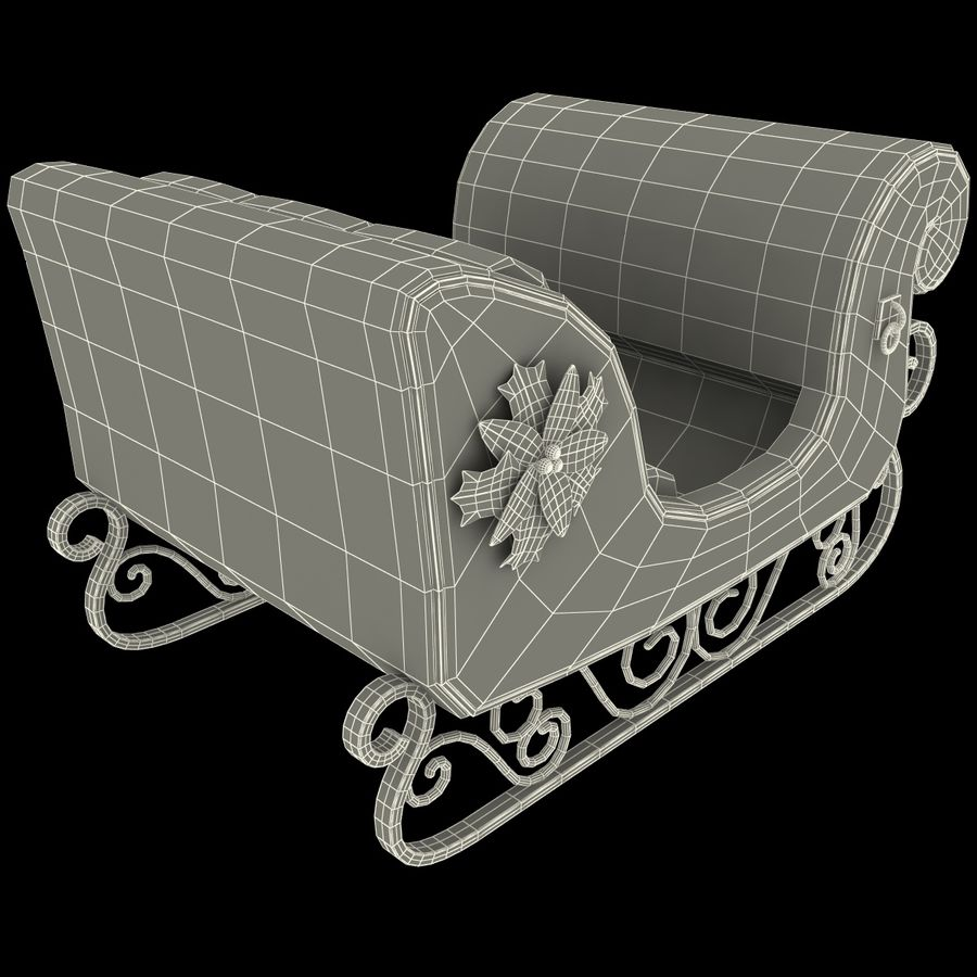 Christmas Sleigh royalty-free 3d model - Preview no. 17