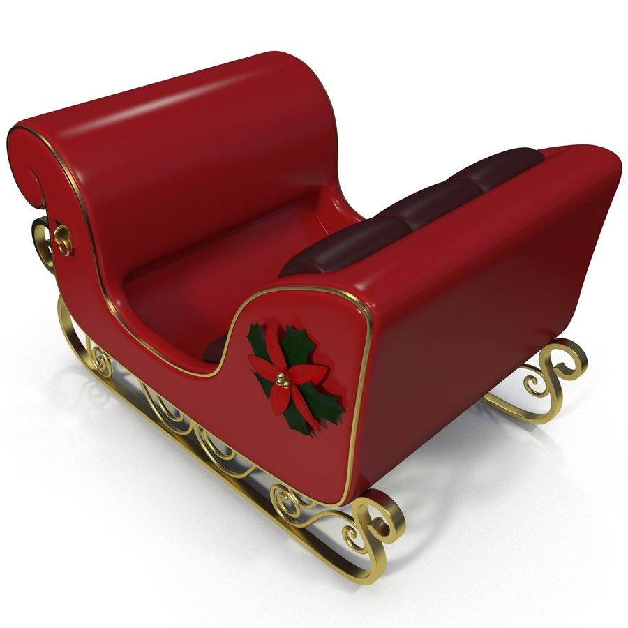 Christmas Sleigh royalty-free 3d model - Preview no. 4