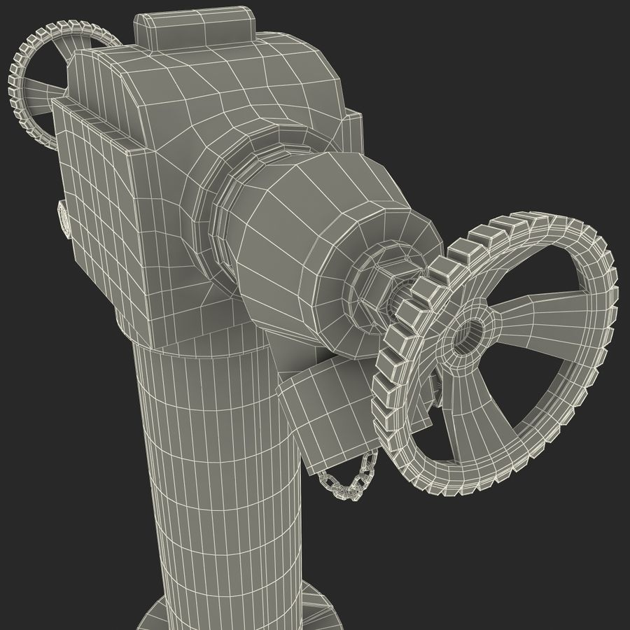 Fire Hydrant 2 Port royalty-free 3d model - Preview no. 19