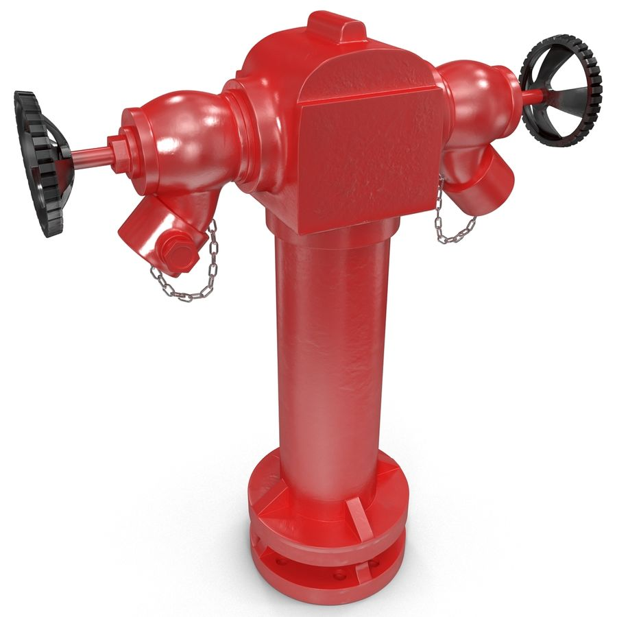 Fire Hydrant 2 Port royalty-free 3d model - Preview no. 7