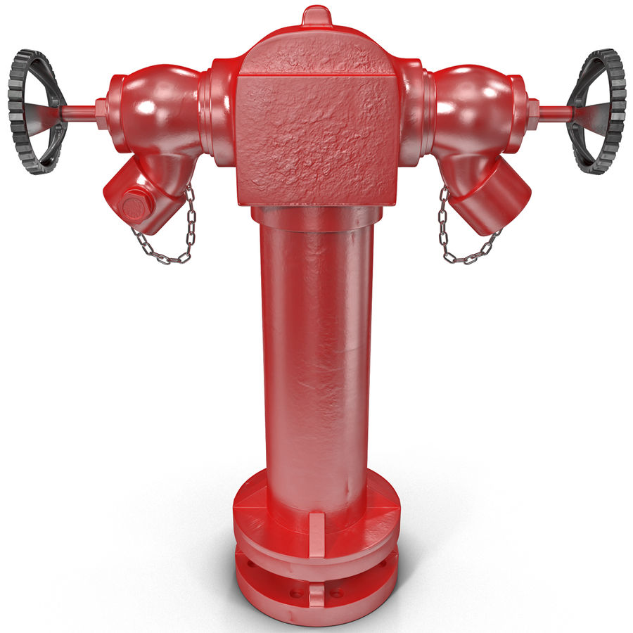 Fire Hydrant 2 Port royalty-free 3d model - Preview no. 2