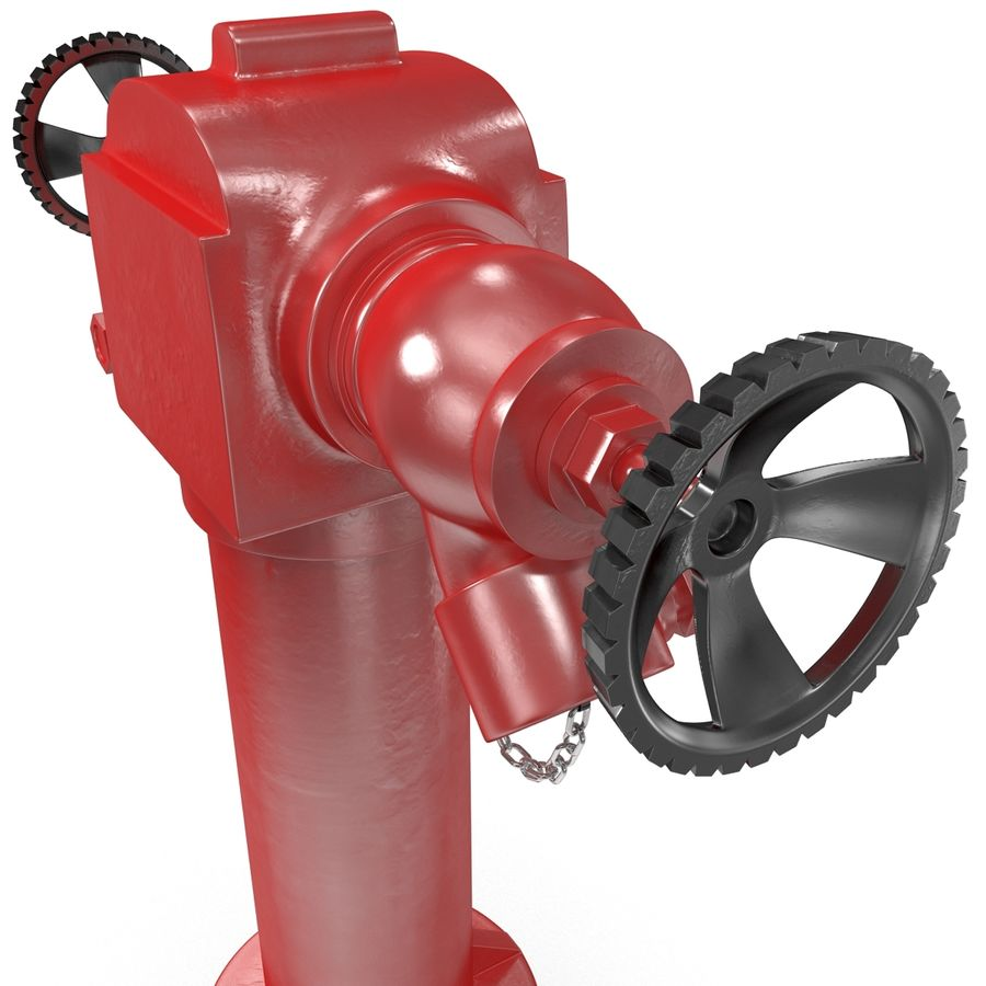 Fire Hydrant 2 Port royalty-free 3d model - Preview no. 10