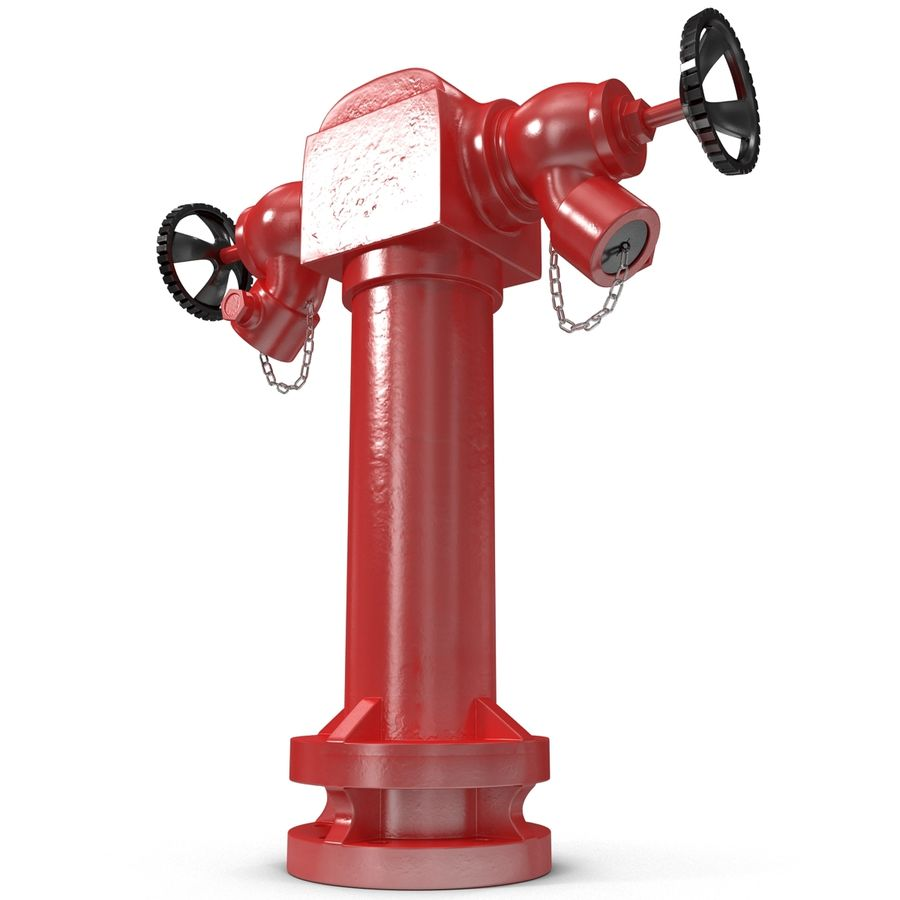 Fire Hydrant 2 Port royalty-free 3d model - Preview no. 8