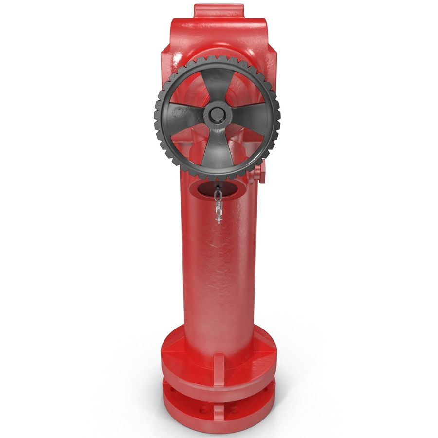 Fire Hydrant 2 Port royalty-free 3d model - Preview no. 3