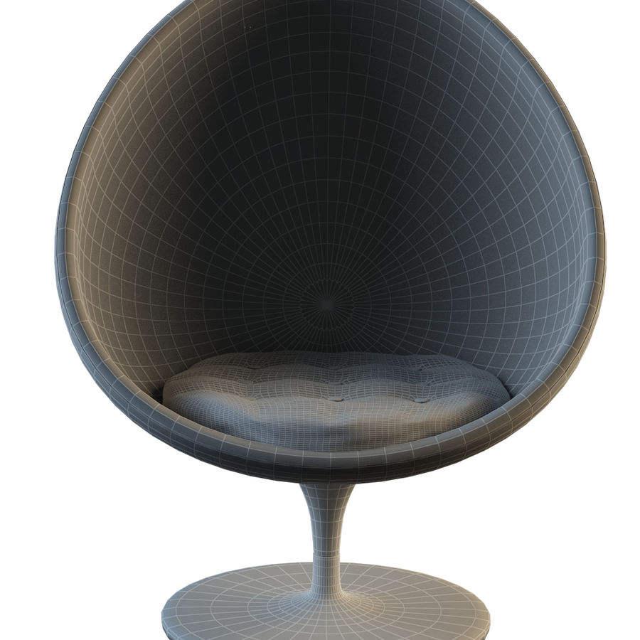Round Egg Chair royalty-free 3d model - Preview no. 2