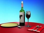 Botella de vino con vaso modelo 3d