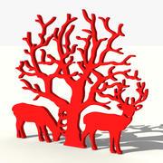 Arbre à décor de rennes 3d model
