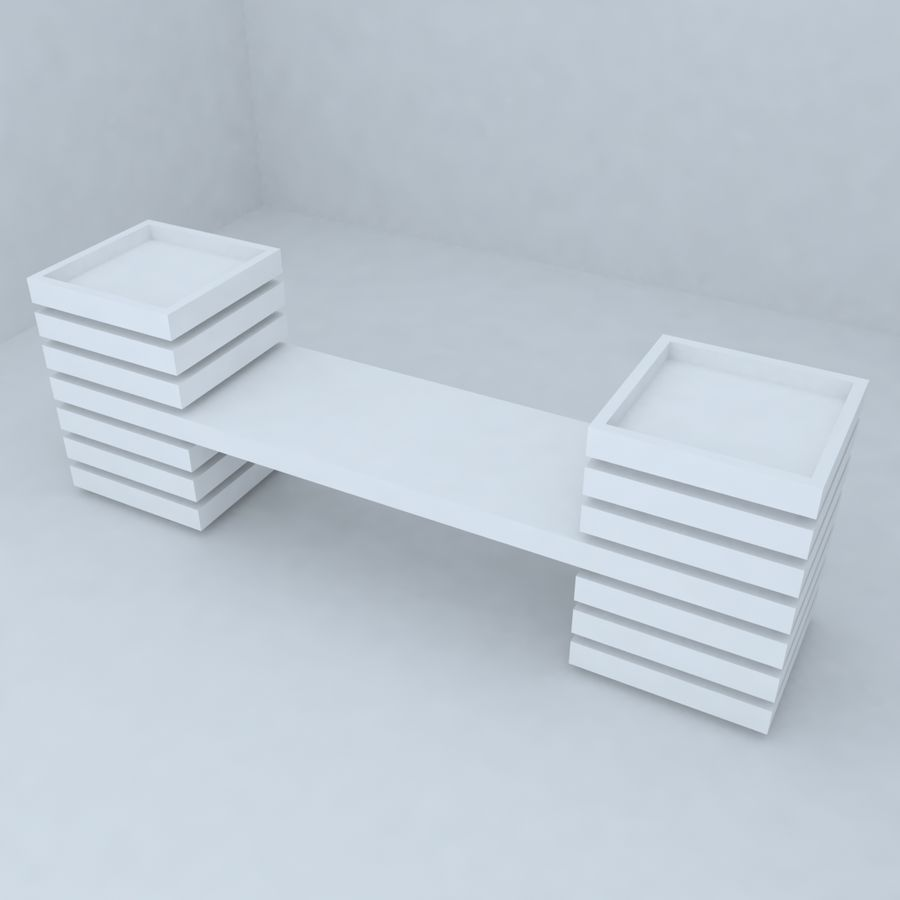 park bench 2 royalty-free 3d model - Preview no. 2
