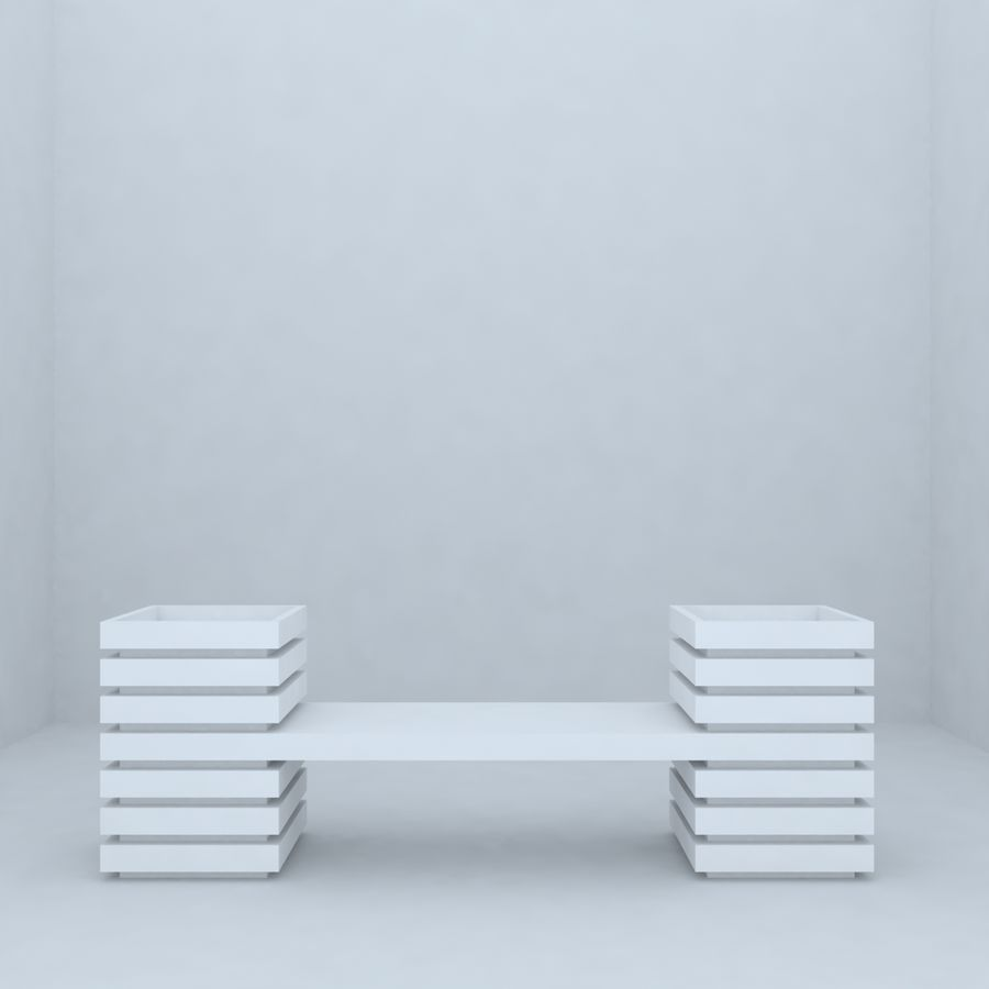 park bench 2 royalty-free 3d model - Preview no. 3