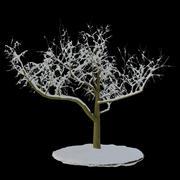 Árbol 3 ramas nieve modelo 3d