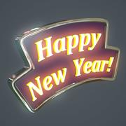 Gott nytt år tecken 3d model