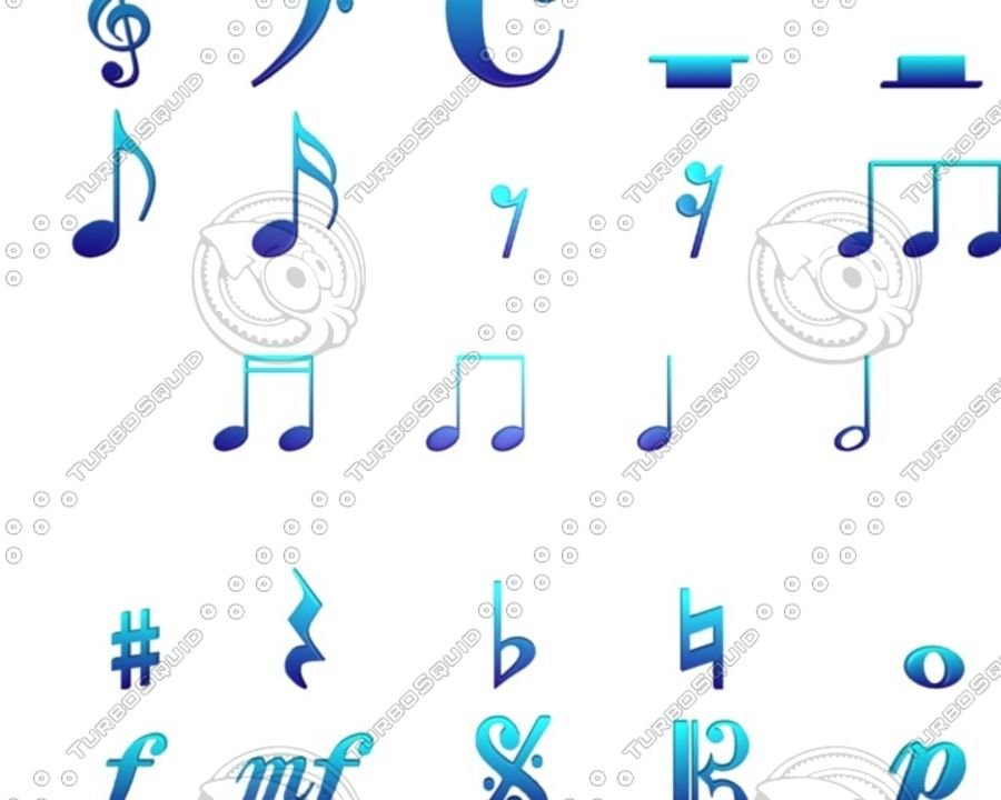 Music Notes royalty-free 3d model - Preview no. 5