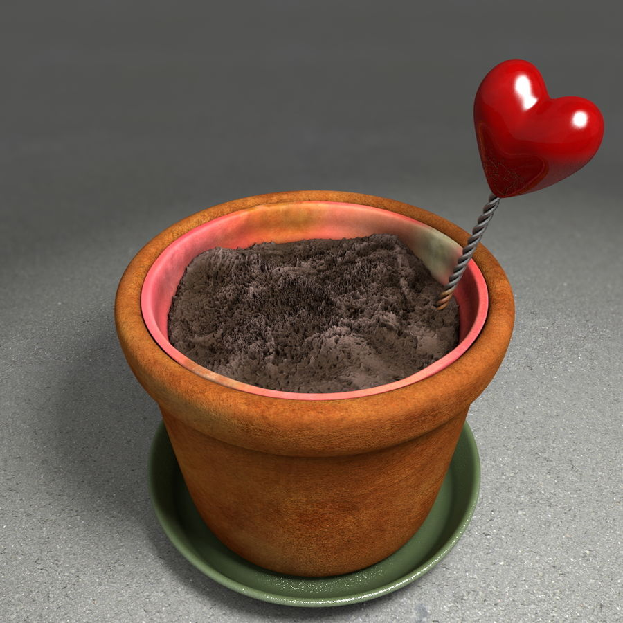 Flower Garden Pottery Plant Pot royalty-free 3d model - Preview no. 1
