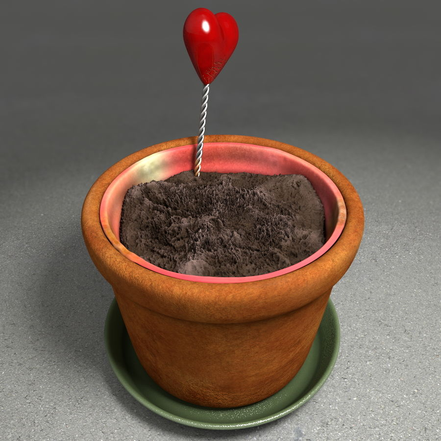 Pot de plante de poterie de jardin de fleur royalty-free 3d model - Preview no. 5